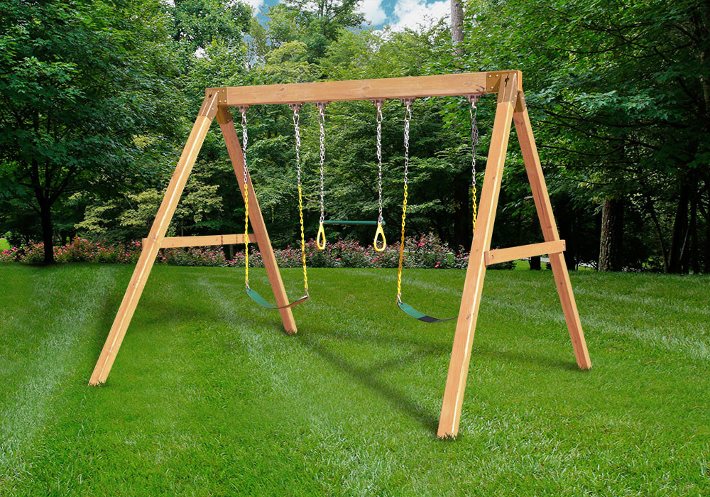Free standing swing beam with swings diy kit for Wooden swing set with bridge