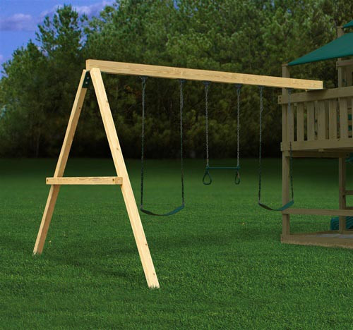 a frame bracket with swing set add on