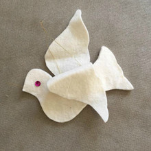 Felted Wool Dove Ornament with Sequin eyes.