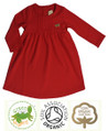 Girls Long Sleeve Red Cotton Dress