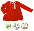 Girls Red Long Sleeve Smock Top