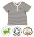 Baby Boys Short Sleeve T-shirt Grey &amp; White Stripe