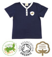 Baby Boys Short Sleeve Y Neck Navy T-shirt