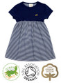 Girls Short Sleeve Dress Navy Stripe