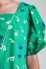 vintage 80s green dress cotton memphis print balloon sleeves MEDIUM M