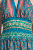 open back maxi dress OOAK boho silk sari halter tiered deep plunging floor length flowy green pink paisley floral ONE SIZE S M L