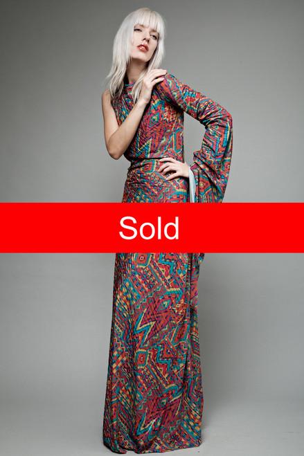 vintage 70s maxi dress avant garde asymmetrical long sleeve ...