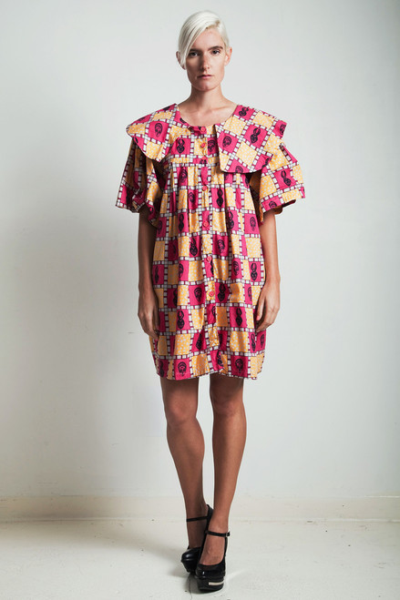 vintage 80s African print cotton mini tent dress yellow red EXTRA LARGE XL PLUS SIZE 1X 2X 3X