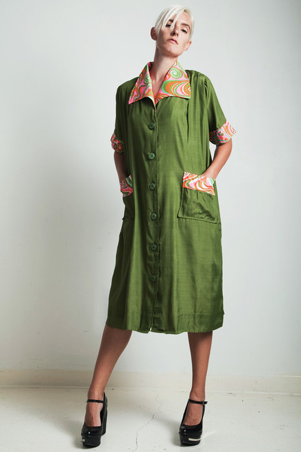 vintage 70s psychedelic smock coat dress olive green PLUS SIZE 1X EXTRA LARGE XL