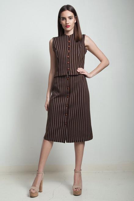 vintage 70s skirt suit polka dot stripes brown white sleeveless SMALL S