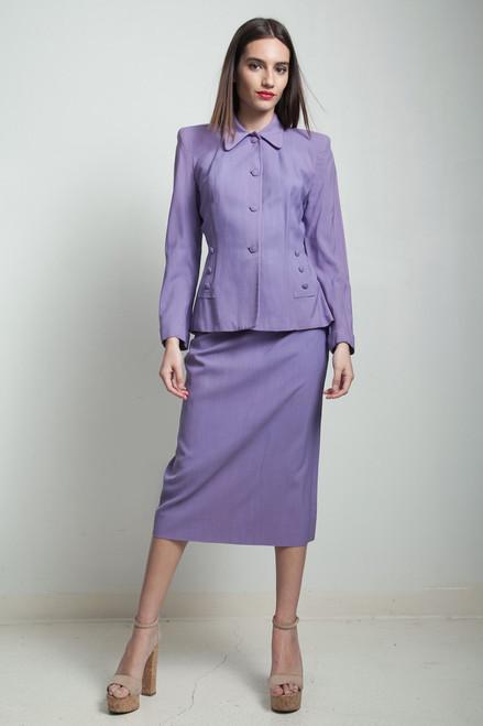 vintage 40s skirt suit purple periwinkle nipped waist MEDIUM M