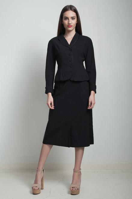 vintage 50s skirt suit black pleated Julius Garfinckel SMALL S