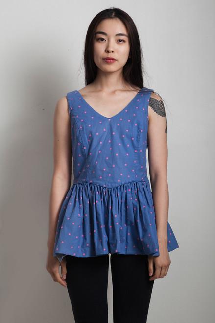 70s vintage peplum top polka dots blue pink sleeveless SMALL S