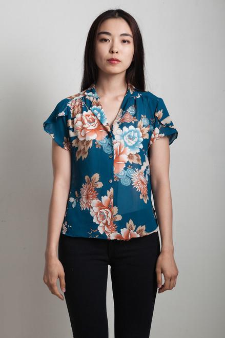 vintage 70s blue floral top sheer asian mandarin collar SMALL S