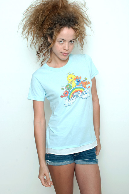 "Junk Food T shirt 50/50 Tee I LOVE SESAME STREET Pale Blue XL (18"" width)"