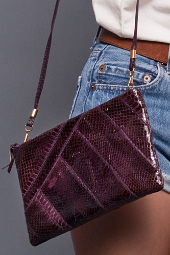 Vintage Genuine Snakeskin Dark Violet Purple Glossy Cross Body Shoulder Bag Clutch