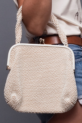 Vintage Off White Cream Corde Bead Hobnail Frame Purse Bag