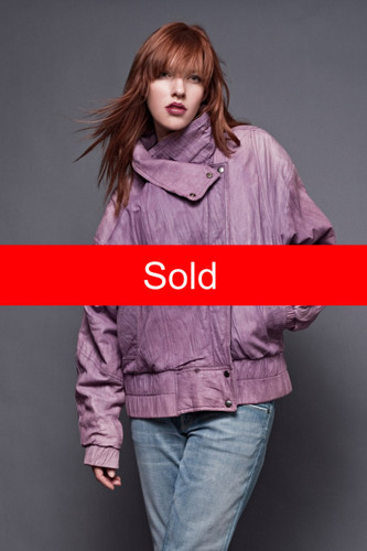 "Vintage 80s Guy Laroche Distressed Leather Jacket Bomber Ski Purple Texture Batwing Sleeves ONE SIZE (52"" Bust)"