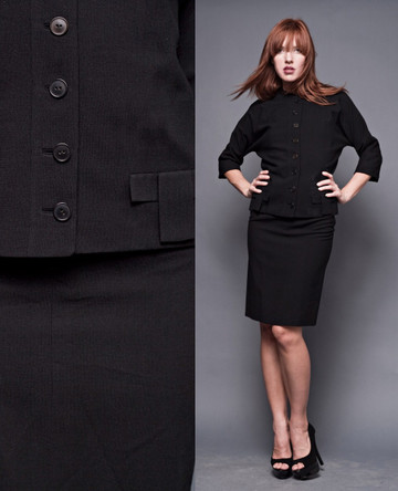 Vintage 60s Black Mod Pencil Skirt Suit Outfit 2-Piece Jackie O Small (26&quot; Waist)