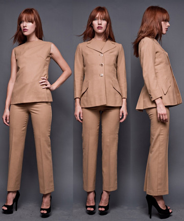 Vintage 60s 3-Piece Camel Hair Pant Suit Tailored Outfit Sleeveless Tunic Jacket Handloomed in Spain XS S (24.5&quot; Waist)