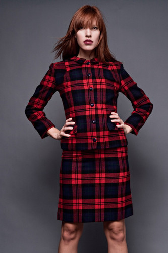 "Vintage 60s Mod Wool Plaid A-Line Skirt Suit Mini Checker Tartan Red XS S (24"" Waist)"
