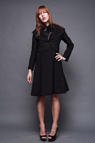"Vintage 60s Black Wool Ascot Flare Dress Crop Jacket 2-Piece S M (36"" Bust)"
