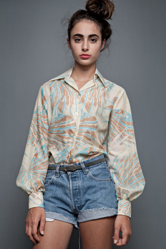 "Vintage 70s Shirt Blouse Top Psychedelic Yellow Blue Butterfly Long Sleeves (40"" Bust)"