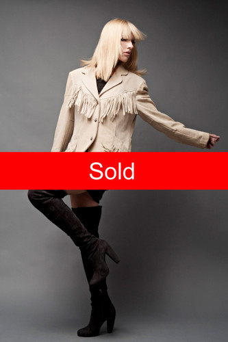 "Fringed Suede Leather Jacket Tan Beige Western Genuine Pressed Nickel Buttons Pioneer Wear USA L (42"" Bust)"
