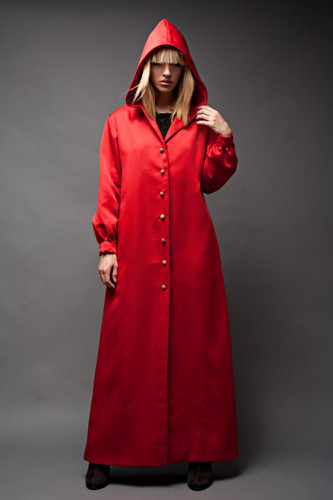 "Vintage 60s Hooded Cloak Full Length Duster Coat Jacket A-Line Red Hood Overcoat Rhinestone Buttons ONE SIZE (42"" Bust)"
