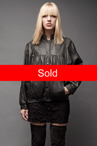 "Vintage 80s Bomber Leather Jacket Black Batwing Dolman Long Sleeves Light ONE SIZE (46"" Bust)"