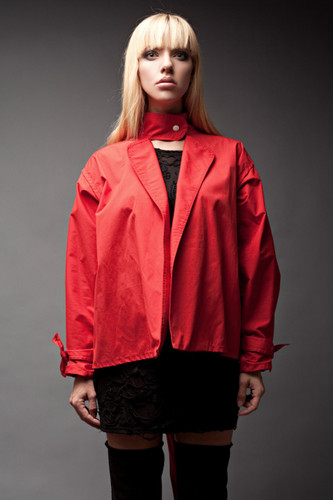 Vintage 80s Red Mini Trench Coat Epaulette Jacket Futuristic Puffy High Neck Pleated Sleeves Bow Belt ONE SIZE