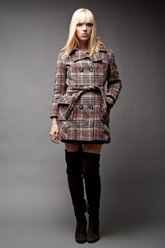 "Vintage Peacoat Pea Coat Wool Tweed Plaid Houndstooth Sash Belt Double Breasted S M (38"" Bust)"
