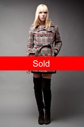 "Vintage Peacoat Pea Coat Wool Tweed Plaid Houndstooth Sash Belt Double Breasted S M (38"" Bust)"