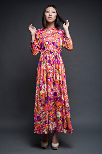 vintage 70s dress bright floral maxi empire long sleeves