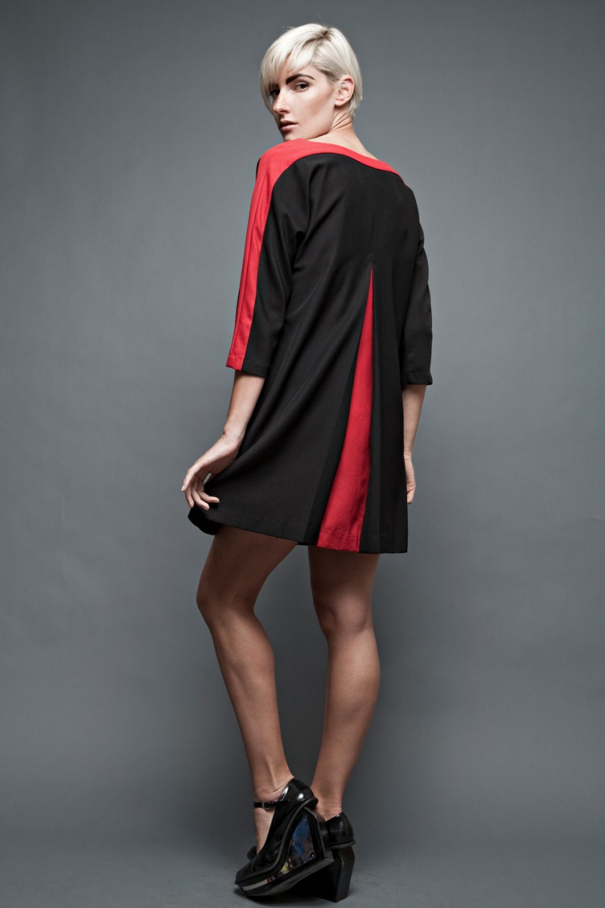 Modern dress 80s - Prabal Gurung For Sephora Tent Shift Dress A Line Black Red Back