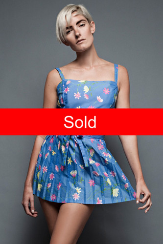"unused deadstock vintage 70s play suit sun dress pleated mini skirt blue pink floral plus size 1X 2X (44"" Bust) :"