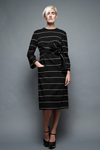 "vintage 60s Donald Brooks shift dress wool knit black white stripes obi sash belt plus size 1X (44"" bust)"