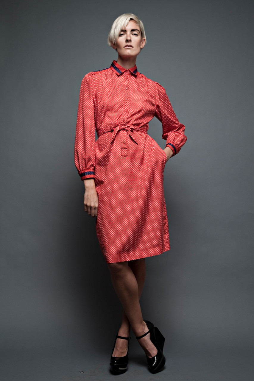 long sleeve 70s dress plus