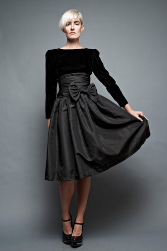 "vintage 80s black dress party cocktail prom open back velvet taffeta cummerbund big bow S (26"" waist)"