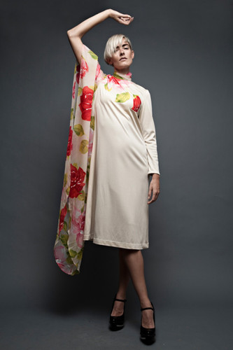 vintage 70s dress nude asymmetrical kimono sheer sleeve floral painted rose print ONE SIZE to L