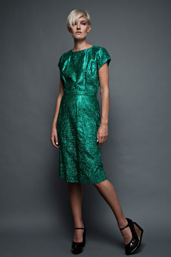 "vintage 50s dress shiny green fuzzy metallic tinsel party cocktail (31"" waist)"