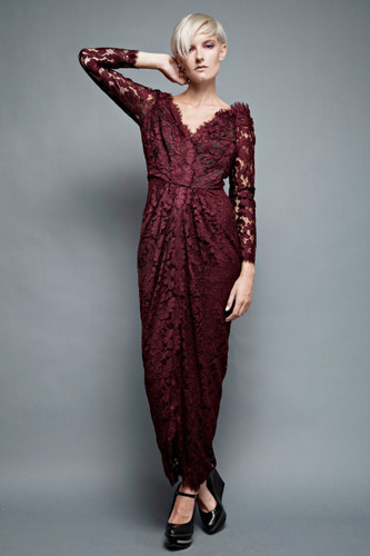 "vintage 80s burgundy lace dress John Anthony gathered floral gown evening cocktail party L (28"" waist)"