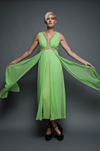 "vintage 70s dress maxi gown flowy lime green empire sheer embellished goddess sleeveless (28"" waist) :"