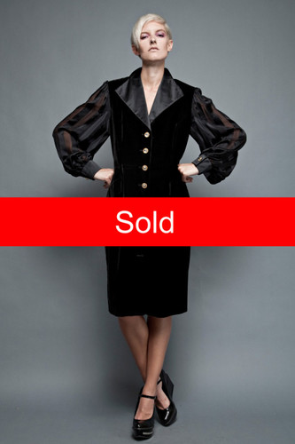 "ESCADA Couture black velvet dress sheer long sleeves gold + rhinestone buttons 42 XL (42"" bust)"