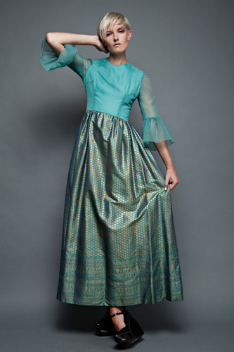 "vintage 70s maxi dress gown seafoam blue green sheer bell sleeves Asian metallic gold jacquard gathered skirt (26"" waist)"