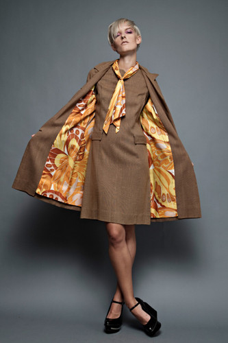 vintage 60s MOD op art 2-piece brown orange dupioni ascot dress jacket coat stewardess scarf  M L