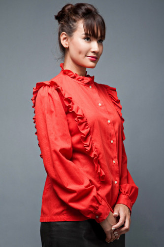 "vintage 70s top blouse red ruffles high collar long sleeves L (42"" bust)"
