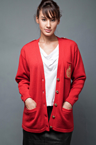 vintage 80s cardigan red wool laine crest collegiate preppy grandpa ONE SIZE