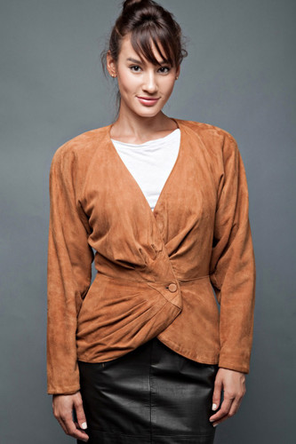 "vintage 80s suede jacket leather brown gathered peplum soft M (28"" waist)"
