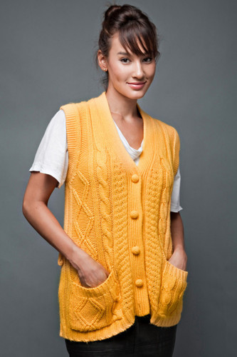vintage 70s vest cardigan yellow cable knit oversized ONE SIZE upto plus size 2X 3X